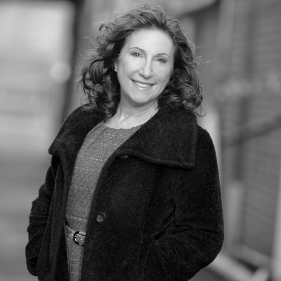 Script and screenwriter Kay Mellor in black and white