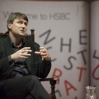 Poet Simon Armitage at the Manchester cathedral during the 2014 festival