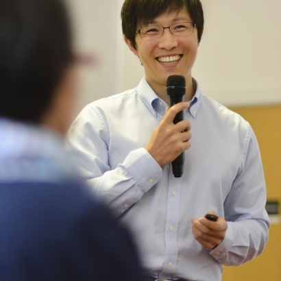 author Sungju Lee at Manchester central Library