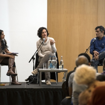 authors Kamila Shamsie & Mohammed Hanif in conversation with Anita Sethi at MLF 2016