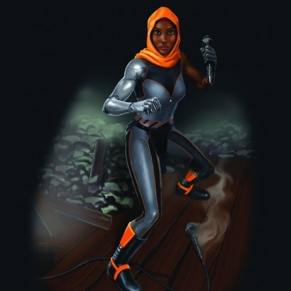 Graphic image of a woman in a grey and orange superhero outfit and holding a microphone like she's ready for action