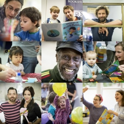 Children and adults enjoying the family reading day 2017.  Includes pictures of authors Ben Faulks, Ed Vere, Michael de Souza, Clare Foges & Al Murphy