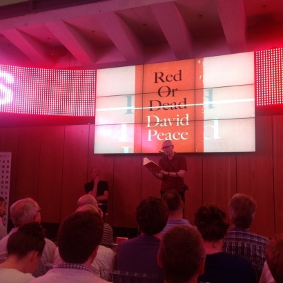 David Peace reads his book Red or Dead on stage at national football museum