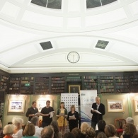 authors in the portico library at MLF Barbara Pym event