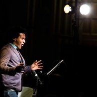 Lamn Sissay onstage at Manchester Town Hall